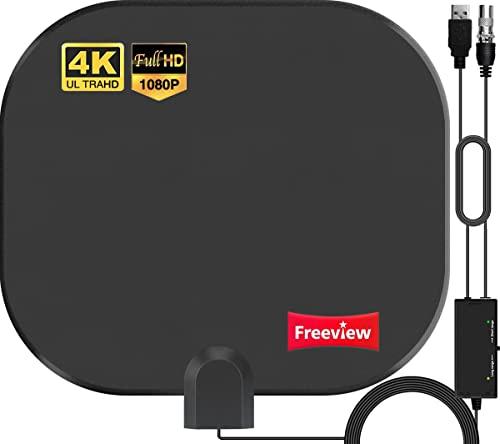 2021 Version Antenne TV Intérieur Puissante TNT HD – 380KM Portée Antenne HDTV avec 30dBi Gain Amplificateur de...
