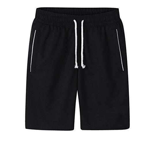 Enticerowts Sports Jogging Hommes, Plus la Taille de Couleur unie Cordon de serrage Shorts Fitness Cinquième Pantalon Multifonction Décoration XL Noir