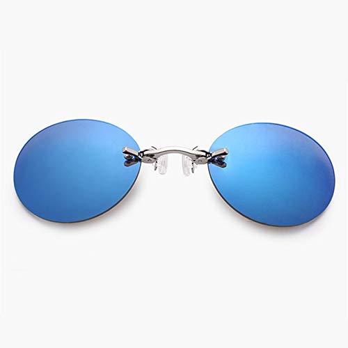 FSJCB Gafas De Sol Clip On Nose Sonnenbrille Männer Matrix Morpheus Randlose Sonnenbrille Runde Brille Uv400