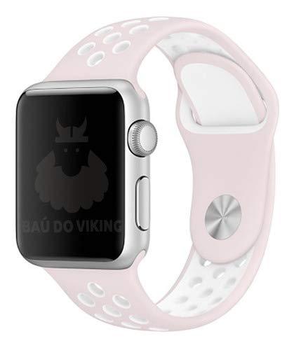 Pulseira Silicone Furos, compatível com Apple Watch (Rosa Branco, 44mm Pequeno)
