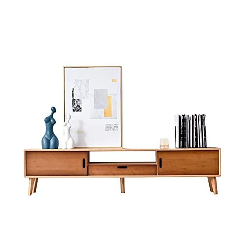 Peakfeng Gabinete de TV, TV Lowboard, estantes flotantes, Estante de componentes de Soporte de televisión Flotante, 140/160 cm. Mueble de TV de pie/Consola de Medios, Producción de bambú Natural