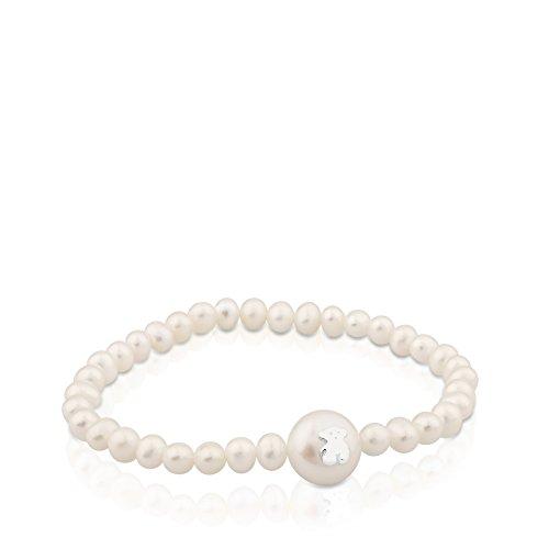TOUS Pulser mujer elástica de perlas con perla principal y motifo en plata de primera Ley