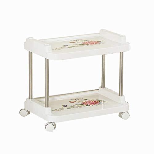 B-K Vier Räder Tragbare Werkzeugaufbewahrungswagen Trolley-Multifunktionale Schönheit Auto Friseursalon Trolley Home Küche Bad Werkzeug Auto Regal Utility Cart, Weiß, 46 * 31 * 45CM