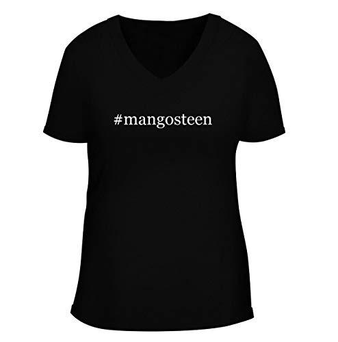 #mangosteen - Women's Soft & Comfortable Hashtag Deep V-Neck T-Shirt, Black, XX-Large