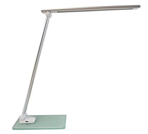 Unilux LED Schreibtischlampe Popy, weiss, dimmbar, faltbar, Glas-Sockel mit Stimmungslicht, 120lm/W, 6000K, 6W