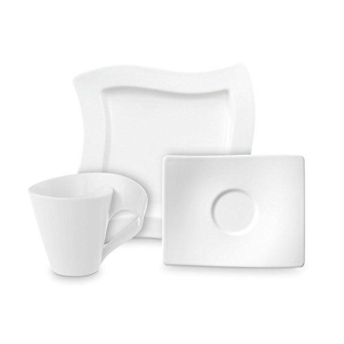 Villeroy & Boch NewWave Kaffee Set / elegantes Kaffee Service aus Porzellan in geschwungener Form / geeignet für bis zu 4 Personen / 1 x Set (12-teilig)