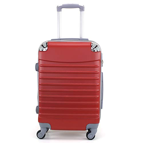 Maleta de Cabina 20x35x55cm con Esquinas Plateadas (Rojo)