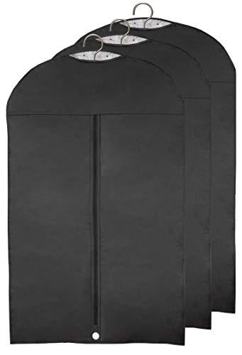 Momex 3 x Kleidersack Anzug, Kleiderhülle Abendkleid schwarz Größe 100cm (Länge) x 60cm (Breite) Anzugtasche [3 Stück]