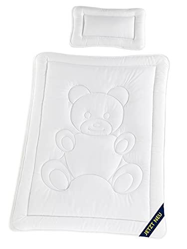 STERNKIND® Kinderbettdecke Kinderbettwäsche 100 x 135 & 40x60 Kopfkissen | Allergiker geeignet & Öko-Tex Zertifiziert | Bettdecken Set Teddybär