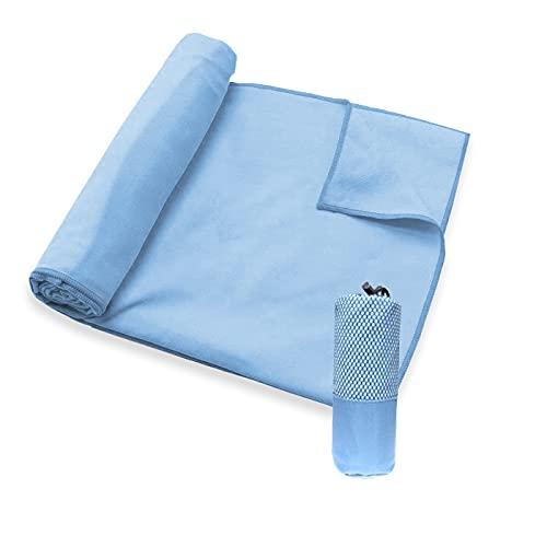 MERCURY TEXTIL - Toallas de Microfibra + Funda de Transporte. Ultra–Ligeras, absorbentes, de Secado rápido – Toalla Gym, Toalla Viaje y Toalla Piscina (80x150cm 1 Toalla, Azul)