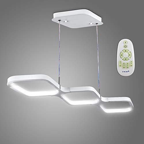 Anten 30W Hängeleuchte LED dimmbar mit Fernbedienung, höhenverstellbare moderne weiße Hängelampe mit drei verstellbarer Farbtemperaturen, Pendellampe aus Aluminium für Esszimmer, Speiseraum usw.