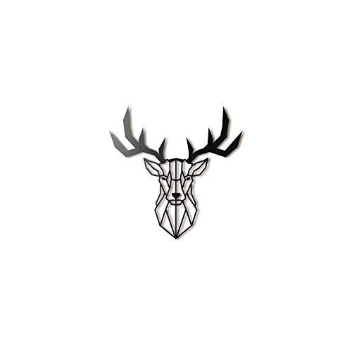 Hoagard Deer Head XL Metal Wall Art by Hirschkopf XL Metall Wandkunst 75 cm x 80 cm   Geometrische Metallwandkunst, Wanddekoration