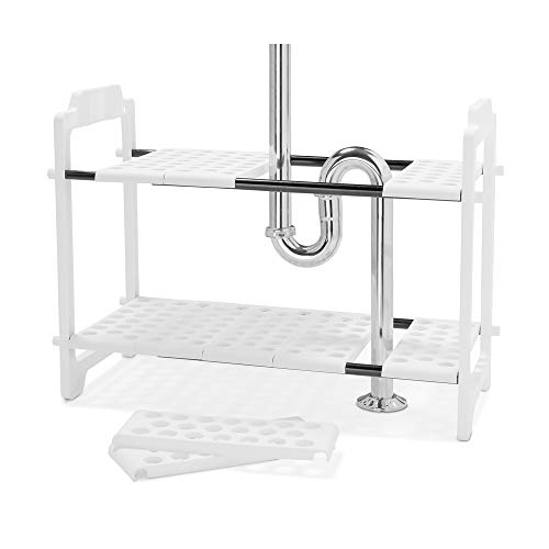 madesmart Expandable Undersink Shelf Organizer - White | CABINET COLLECTION | Expands to L-18.13'' X W-17.25'', width expands to 32'' | 2 Tiers | Cabinet Organizer with Adjustable Racks | BPA-Free