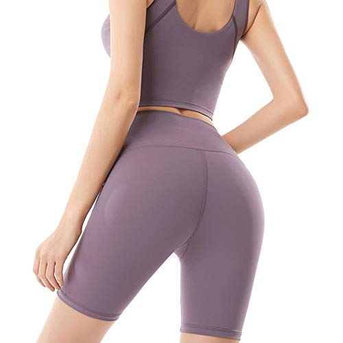 ZUHANGMENG - Traje de yoga para mujer, cuello en U, sin mangas, color sólido, traje corto, cintura alta, tubo recto, para correr, fitness, deportes, tendencia, ciclismo, Morado S, Small