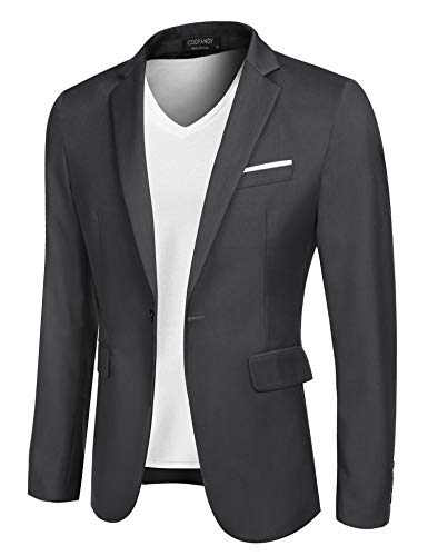 COOFANDY Men's Suit Jacket Lightweight Sport Coat Business Fashion Daily Blazer, Grey, Large