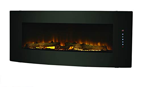 Muskoka 42  Contemporary Curved Front Slim Line Wall Mount Infrared Electric Fireplace, Black Glass