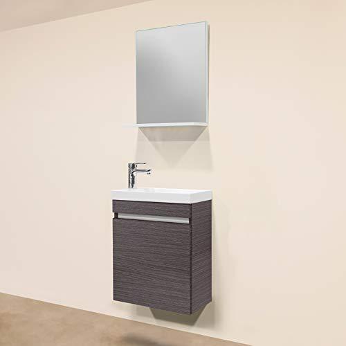 Sanotechnik Nora 3 teiliges Badmöbel-Set, Holz, Eiche Silber, 25 x 48 x 60 cm