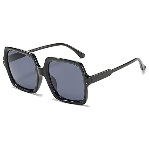 WANGZX Gafas De Sol De Cristal para Mujer Gafas De Sol Cuadradas Steampunk De Moda Gafas Retro Uv400 para Mujer Negro-Negro