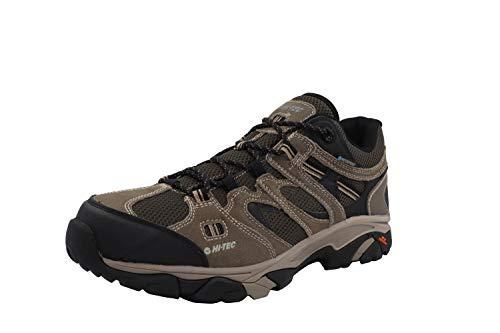 HI-TEC Ravus Vent Chaussures de randonnée basses imperméables en cuir taupe foncé/olive Nuit pierre à la cheville, Marron (Taupe foncé/olive nuit/pierre.), 45 EU