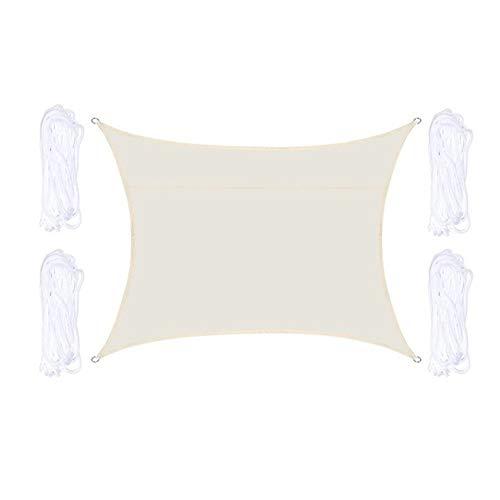 W.Z.H.H.H Schattensegel Wasserdicht Rechteck Sun Sonnensegel Net Patio-Garten-Pool-Abdeckung Markise Vordach im Freien Sun Shelter Sonnenschutztuch. (Color : Off White, Size : Kostenlos)