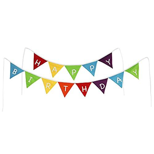 PREMYO Guirnalda Feliz Cumpleaños Decoración - Happy Birthday Banderines de Tela - Triángulos Arco-Iris Multicolor