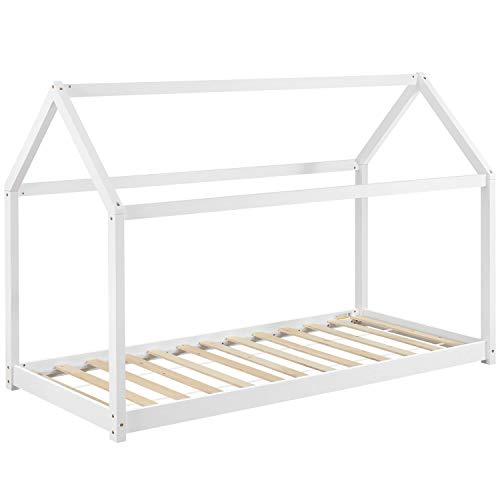 ArtLife Kinderbett Carlotta 90 x 200 cm mit Lattenrost und Dach - Hausbett aus Massivholz - Bett in Weiß