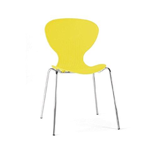 4 sillas amarillas apilables en metal y plástico para interiores