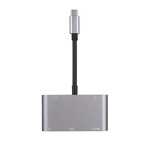 VHNBVHGKGHJ Portátil HDMI VGA USB3.0 OTG Cargador Hembra Audio a USB-C Adaptador USB 3.1 Plata