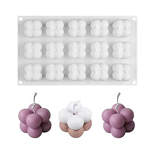 MOPOIN Bubble Kerze 15in1 Kerzengießform Silikon, 3D Ball Cube Kerzenformen zum Gießen, Bubble Kerzenform Silikon, Sojawachs Kerzenform, Seife Form, für DIY Schokolade, Candle,Resin, Soap