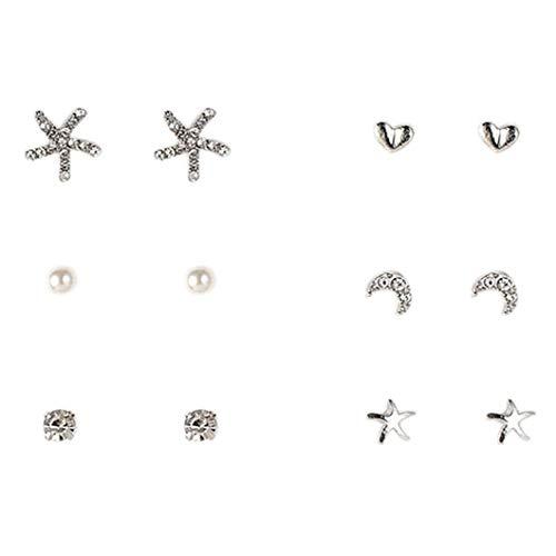 6 Pares Niñas Mini Stud Pendientes Conjunto Del Corazón/Estrella/Perla/Snowflaker/Flor Espárragos Forma De Las Orejas Para Mujer