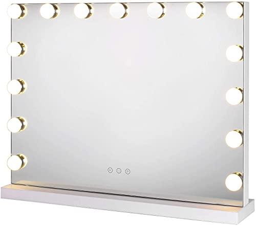 Espejo de Maquillaje Grande con Luz LED Espejo de Mesa 3 Modos de Bombillas Control táctil Inteligente Estilo Hollywood 58X43cm