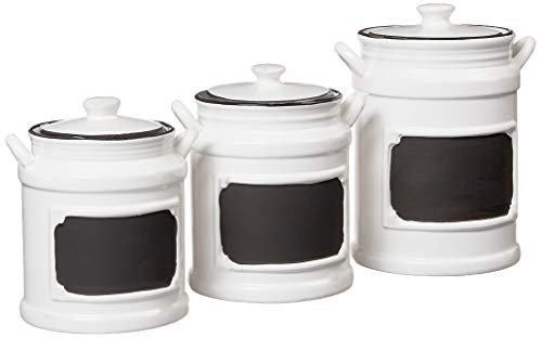 American Atelier Vintage Canister Set 3-Piece Ceramic Jars Chic Design With Lids for Cookies, Candy, Coffee, Flour, Sugar, Rice, Pasta, Cereal & More, 21x8x11, White/Black