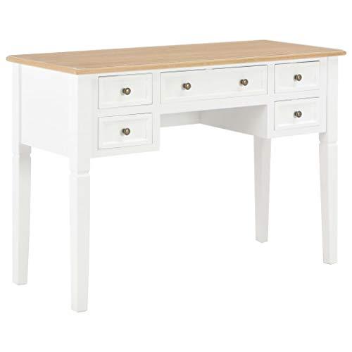 vidaXL Holz Schreibtisch mit 5 Schubladen Computertisch Arbeitstisch Bürotisch Laptoptisch PC Tisch Holztisch Büromöbel Braun Weiß 109,5x45x77,5 cm