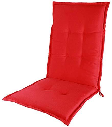 MGE Cojín De Silla De Jardín, Espalda Alta Terraza Interior Exterior Patio Muebles De Patio Silla Respaldo Y Estera De Asiento Almohadillas Suaves-120 X 50 X 5 Cm(Color:Rojo)