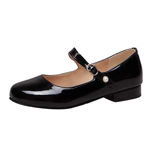 Mary Jane Damenschuhe Flach Pumps Lack Ballerinas mit Riemchen Schuhe(Schwarz,39)