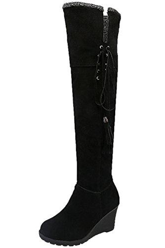 Lange Stiefel Damen Casual Schnüren Herbst Winter Keilabsatz Bequem Warme Knie Hohe Stiefel Von Bigtree Schwarz 40 EU