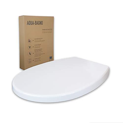 Aqua Bagno | WC Sitz mit Absenkautomatik, made in EU, antibakterieller und abnehmbarer Toilettendeckel aus Duroplast, Klodeckel in O-Form überlappend, Softclose, Weiß | Smile (Modell)
