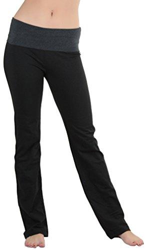 ToBeInStyle Women's Fold-Over Waistband Semi-Flare Yoga Pants - Charcoal - M