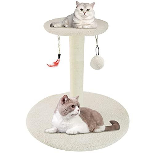 Zubita Tiragraffi Stabile per Gatti con Tiragraffi in Sisal, Torre da Arrampicata per Gatti, per Interni e Gatti, Centro Attività per Gattini e Gatti di Media Taglia (Beige)