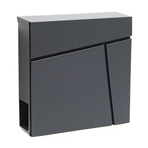 Moderner Design Briefkasten V23 Anthrazit Wandbriefkasten pulverbeschichtet Zeitungsrolle