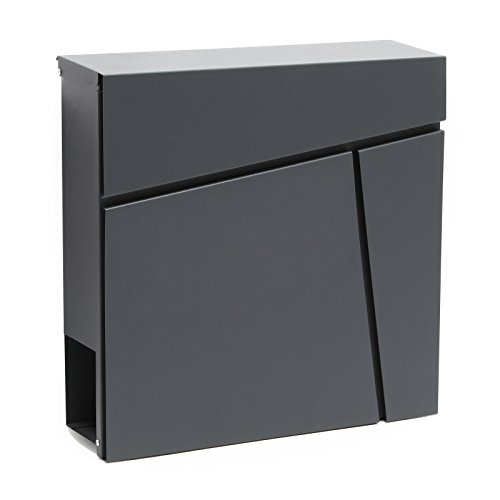 Buzón Diseño Moderno V23 Antracita Compartimiento Periódico Acero recubierto en polvo