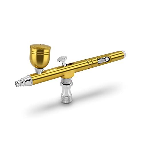 Pinkiou エアブラシ ダブルアクション 重力式 ハンドピース 0.3mm口径 5cc容量カップ 小型 スプレー 塗装/模型作り/ネイルアート/プラモデル/フィギュア/DIY (金色)