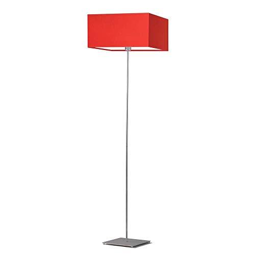 PRAGA - Lámpara de pie (marco de acero cepillado), color rojo