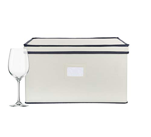 Chapman & Grand Wine Glass Storage Chest, Protective Container Box with Lid for Stemware, (Light Beige-Navy)