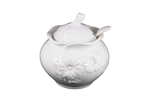 Porcelain Sugar Bowl with Lid and Spoon Sugar Dispenser Canister Glass Sugar Storage Jar Seasoning Pot Condiment Jar 8 ounce sugar container with spoon