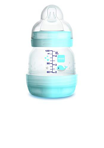 Mam Easy Start Biberon Anticolica Autosterilizzante con Tettarella Mis 0, 0+ mesi, 130 ml, azzurro