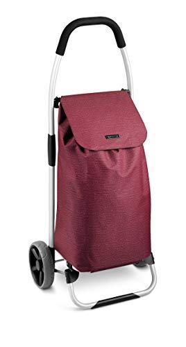 Tescoma Shop - Carro para la Compra, Metal/Tela sintética, Rojo, 45 x 11,2 x 50,4 cm