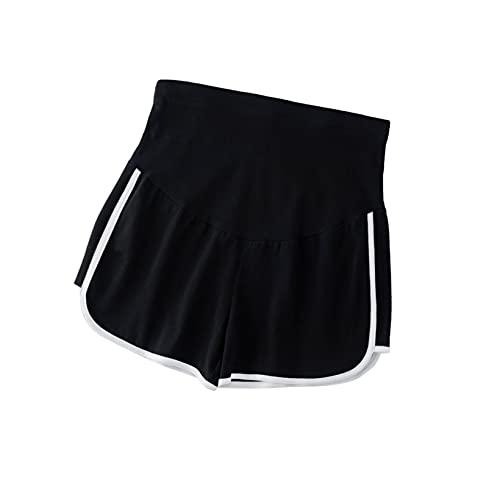 Aiihoo Pantalones cortos de verano para mujer, pantalones de yoga elásticos, soporte para el vientre, gimnasia, entrenamiento, joggers, Negro, XX-Large