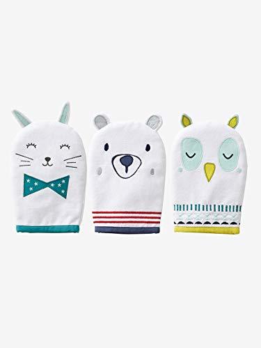 VERTBAUDET Lot de 3 gants de toilette animaux écru TU