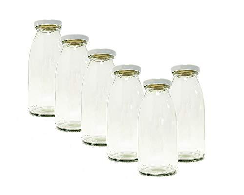hocz . 6er Set Saftflaschen | Füllmenge 250ml | + Twist-Off Deckel Weiß I bauchige Glasform I Glasflasche zum Befüllen I Karaffe I Milchflasche I Deko-Vase I Trinkflasche I Schüttdosen